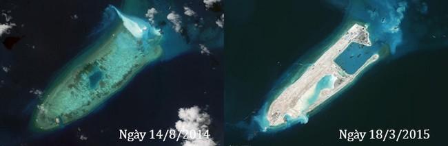 Thực trạng 7 bãi đá Trung Quốc cải tạo ở Trường Sa qua ảnh vệ tinh - ảnh 2