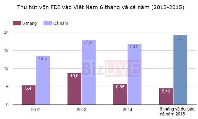 """Vốn """"ngoại"""" đổ vào Việt Nam thấp nhất 4 năm - ảnh 1"""
