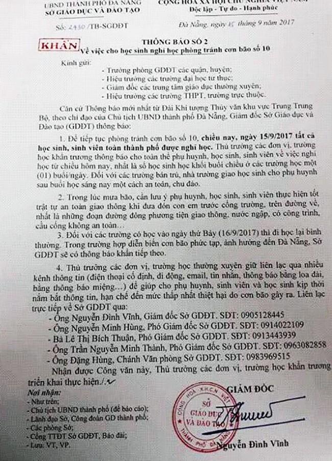 Bão số 10: Đà Nẵng cho học sinh, sinh viên nghỉ học từ chiều nay 15/9